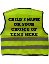 KIDS BICYCLE RIDERS CYCLIST Personalised Hi Viz High Visibility Safety Vest 0-7