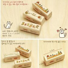 New Korean Creative Retro DIY cartoon diary series Wooden Rubber Stamp (A314)