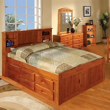 Discovery World Furniture Honey Bookcase Captains Bed Full with 6 Drawer Dresser