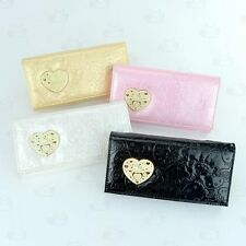 Hello Kitty Patent Leather-Like Clutch Wallet with Kisslock Coins Bag #011
