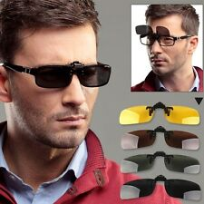 Driving Polarized Night Vision Clip-on Flip-up Lens UV 400 Sunglasses Glasses