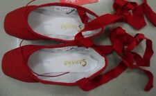 NEW Ladies Canvas Ballet Dance Pointe Shoes with Ribbon Dance Toe Shoes US 5-8