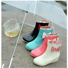 Hot Ladies Patent Leather Simple Style Bowknot Faux Rain Flat Ankle Boots Shoes