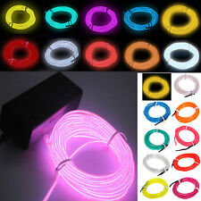1/3/5m 9Color Flexible Neon Light Glow EL Wire Rope Cable Strip LED with Battery