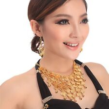 Tribal Necklace+Earring Jewelry Choker Belly Dance Costume golden&silver coins
