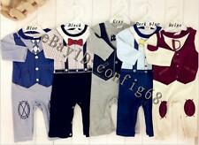 New 100% Cotton Boys' Baby Infant One-Piece Long sleeve Strap Everyday Shirt S23
