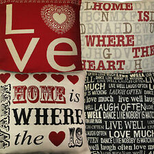 """LOVE,HOME IS WHERE HEART,LIVE WELL,TAPESTRY CUSHION COVER 18"""" x 18"""" 45 x 45cm"""