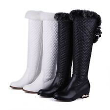 Women's Zip Ladies Winter Over the Knee High Riding Boots Low Heel Leather Shoes