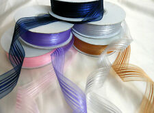 Satin Stripe organza/chiffon ribbon 25mm wide