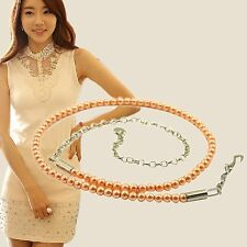Women Fashion High Waist Hip Chains Shiny Faux Pearls Beads Waist Belt M L XL