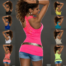 Sexy Women's Vest Top T-shirts Embroidery Open Back One Size fits UK 8/10/12