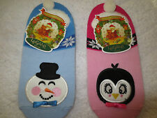 NWT LeGale Frosty Snoman,Pink Penguin Womans Peds Socks 9-11