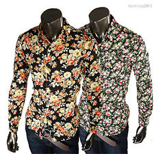 New Floral Mens Fashion Luxury Casual Slim Fit Stylish Long Sleeve Dress Shirts