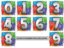 """18"""" Age Number Birthday Party Foil Helium Balloons"""
