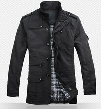 Hipster Pop Mens Business Quilted Jacket winter Outerwear utility Coat Black
