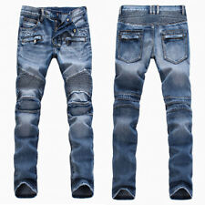 France Men Style Distressed Motorcycle Pants Biker Light Blue JEANS B1378T 28-38