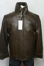 NWT $795 Andrew Marc New York Brown 100% Leather Bomber Jacket Shearling Coat