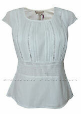 New Pepperberry Bravissimo size 8 - 18 CV RC SC White Crochet Cotton Pleated Top