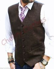 MENS TWEED WOOL BLEND BROWN FLECK DONEGAL WAISTCOAT VEST- ALL SIZES S M L XL XXL