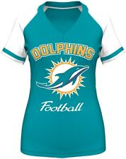 "Miami Dolphins Women's Majestic ""Go For Two IV"" V-neck T-shirt - Aqua"