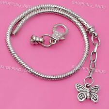 Silver Lobster Clasp Snake Chain Charm European Bracelet Butterfly Pendant 10pcs