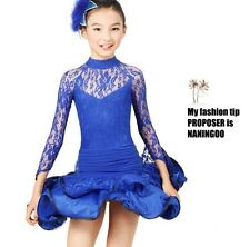 Childrens Latin Salsa Ballroom Dance Dress Girls Dancewear costumes #FY072