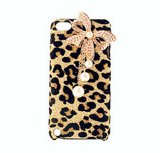 Bling Diamond Pearl Bow Bowknot Gold Leopard Case Cover For iPhone5/5S/5C/4/4S