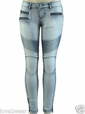 NEW Women's Ladies Skinny Fit Biker Style Distressed Faded Jeans Blue Acid Wash