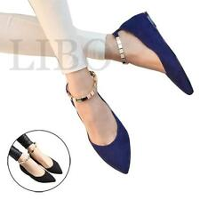 Women Fashion Retro metal buckle Ankle Strap Flat low heel Pointed Toe shoes
