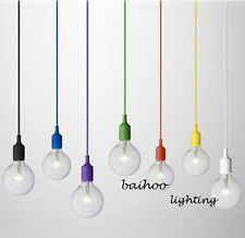 Plug In Color Fabric Covered Cord Hanging Pendant Light Lamp Home Decorations