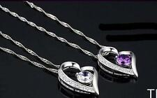 TI US Fashion Women Silver Chain Necklace With Heart Pendant Crystal wedding