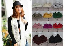 New Fashion Women Girls Knitted Long Wool Circle Scarf Shawl Wrap Neck Warmer