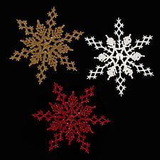 Christmas Decoration - 2 Pack Glitter 16cm Snowflake - Red, Gold or White