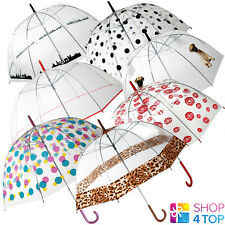 CLEAR TRANSPARENT UMBRELLA WOMEN PRINTS DOME RAIN PARASOL CLEAR RAIN WEDDING NEW