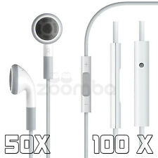 50X 100X 3.5mm Earphones Headset With Remote Mic for Apple iPhone 5 4/4S White
