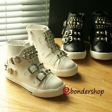 Buckle Boots Kids High Top Sports Shoes Girls Boys Sneakers Zipper Casual Shoes