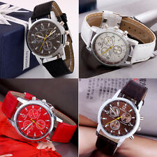New Men's Round Dial Faux Leather Strap Watch Quartz Wrist Watch Fashionable