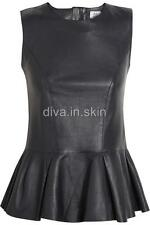 LAMBSKIN LEATHER TAILOR MADE PEPLUM TOP PARTY PROM COCKTAIL