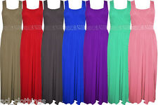 New Ladies Diamanté Sleeveless Women's Party Plain Long Full Length Maxi Dress