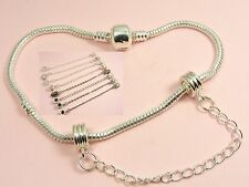 Silver Plated SAFETY Stopper CHAIN  Bead CHARMS fits European Bracelet Necklace