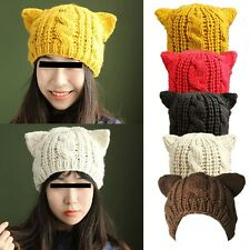 Free Ship Women Winter Warm Horns Cat Ear Crochet Braided Knit Ski Wool Hat Cap