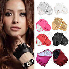 Fashion Womens Half Finger Faux Leather Gloves Ladys Fingerless Show Gloves New