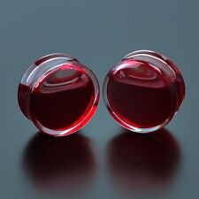 Blood Red Liquid Filled Acrylic Globe Plugs Tunnel Ear Gauge Double Flare Saddle
