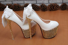 Sexy Lady's Stiletto High Heels Bling Diamond Platform Back Bow Tie Pumps Shoes