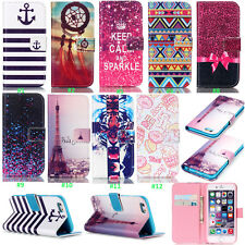 Fashion Flip Printed Cute Design PU Leather ID Card Stand Case Cover For Phone