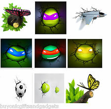 3D Effect Night / Wall Lights Children / Kids Bedroom Lighting - 9 Designs