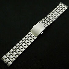 Silver 18mm 20mm Stainless Steel Metal Watch Band Fold Over Clasp Mens GD0105