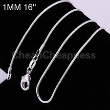 HOT Simple Vogue Cool 1mm 925 Sterling Silver Plated SNAKE Chain Necklace ATCA
