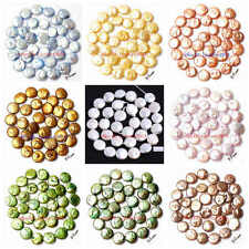 11-12mm Mixed Color Coin Shape  Freshwater Pearl Gemstone Loose Beads Strand 15""