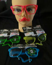 moustache glasses glow fancy dress costume photo booth prop sunglasses pink blue